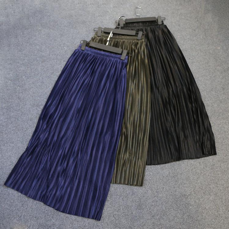Trytree Summer Autumn Pleated Skirt Womens Vintage High Waist Skirt Solid Long Skirts New Fashion Metallic Skirt Female