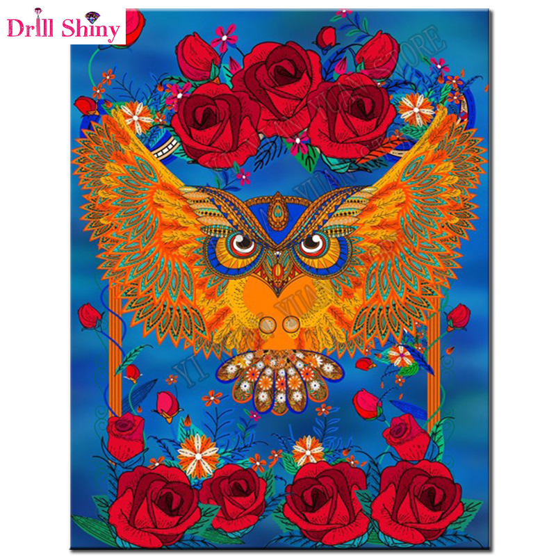 Rhinestone Mosaic Painting gift Diy 5D DIY Diamond Painting flower & Owl Embroidery Full Diamond Cross Stitch Unfinished decor