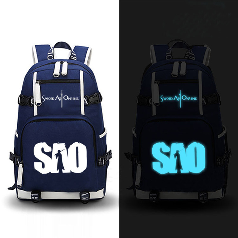 Canvas Back Pack Luminous Printing School Backpacks for Teenage Girls Sword Art Online SAO Design Mochila Feminina Laptop Bags dropship harajuku anime sword art online sao canvas galaxy luminous printing backpack school bags for teenagers mochila feminina
