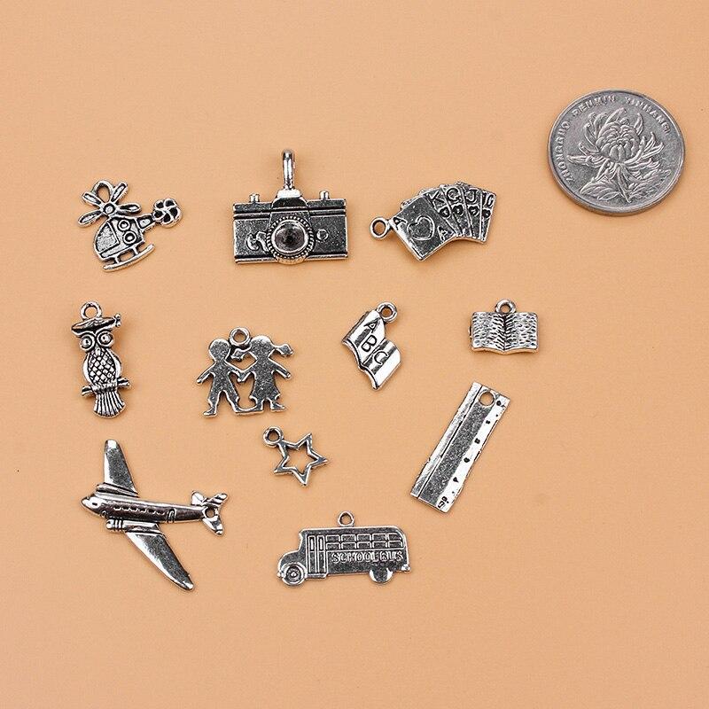Для отдыха и развлечений серии Шарм коллекции старинное серебро 11 различных Шарм для подвески ожерелье