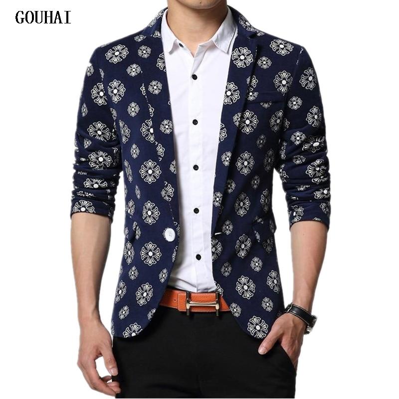 GOUHAI 2019 New Printed Blazers Men M-5XL 6XL Brand Clothes Mens Floral Blazer Masculino Hombre Slim Fit Men Blazer Plus Size