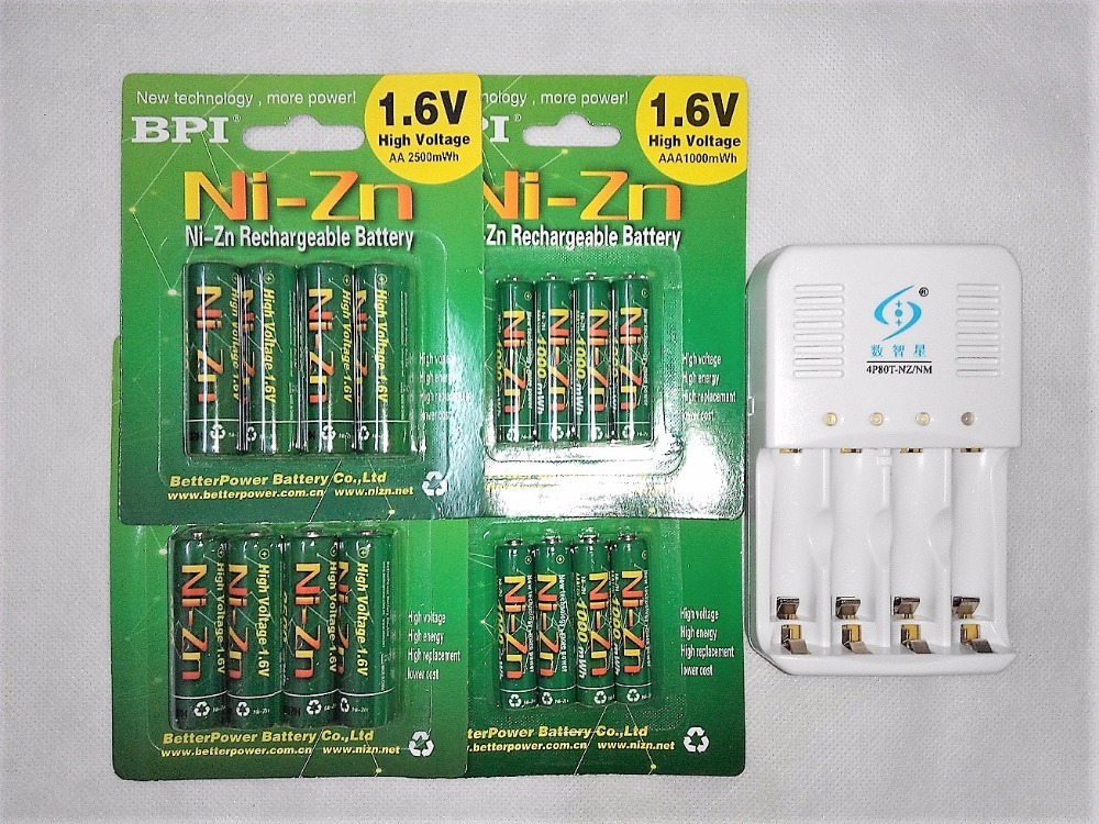 16Pcs(8AA+8PCAAA )1.6v aa 2500mWh rechargeable battery nizn Ni-Zn rechargeable battery + 4 slots aa aaa NiMH NiZn smart charger free shipping 4pcs aa nizn 1 6v 2500mwh high voltage rechargeable battery hot sale 3 5 hour fast charger
