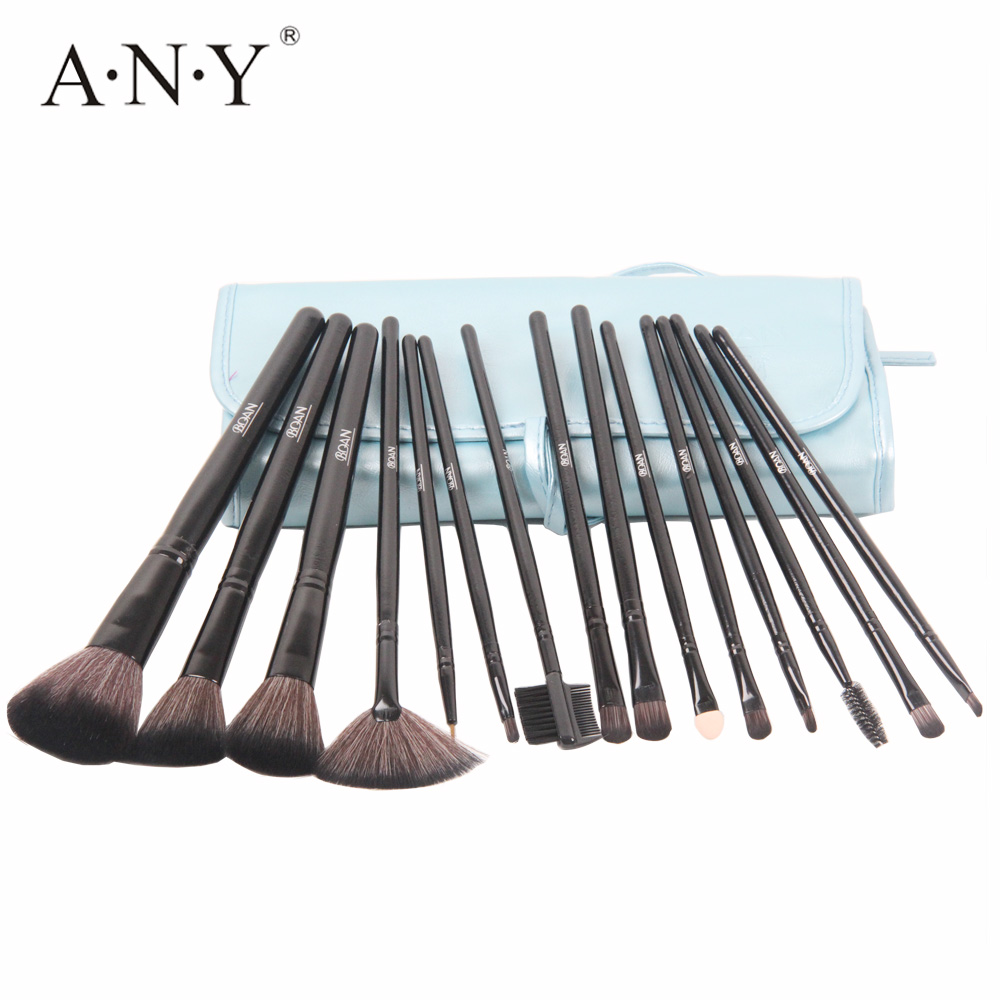 ANY Professional Makeup Brush Set 1Black Wooden Handle Eyeshadow Cosmetic Brushes Kits With Roll Leather Bag