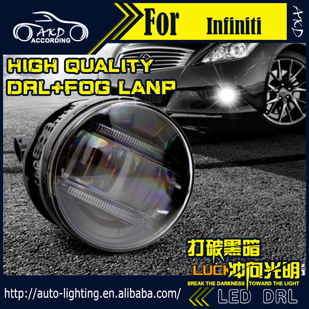 AKD Car Styling Fog Lamp for Infiniti QX70 DRL LED Fog Light LED Headlight 90mm high power super bright lighting accessories qvvcev 2pcs new led car led light fog lamps high power car styling 2835 21smd h8 h11 auto foglight drl headlight lamp bulb dc12v