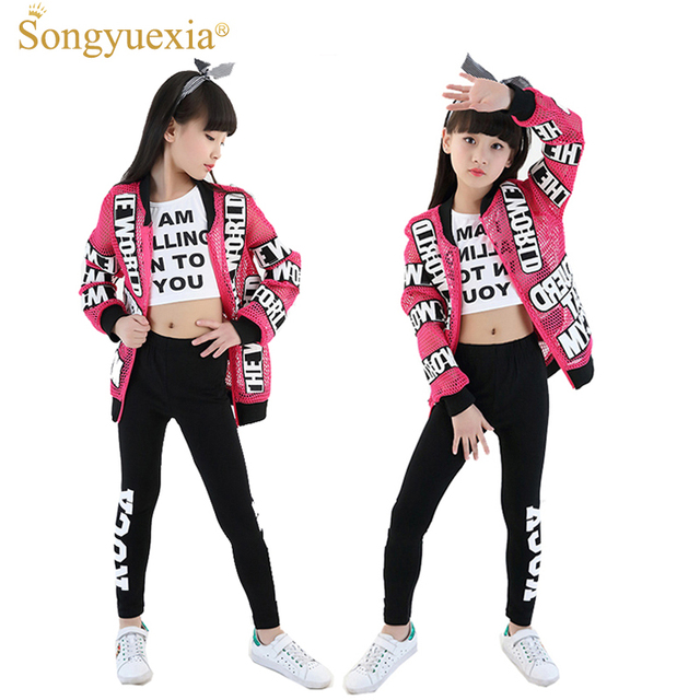 97c311a4d5e1f 2017 Songyuexia new children s jazz dance performance ropa polvo abrigo danza  moderna chicas hip-hop