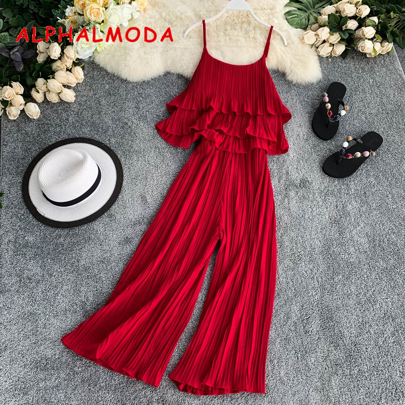 ALPHALMODA 2019 Pleated Ruffled Sling Top + Wide-leg Pant Women 2pcs Holiday Casual Sets Solid Color Women Loose 2pcs Summer Set