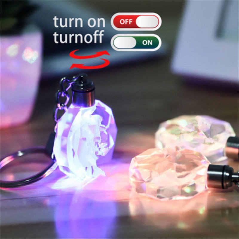 K9 cristal voiture Logo porte-clés Laser gravé coloré lumière LED porte-clés verre porte-clés décoration accessoires pendentif cadeau