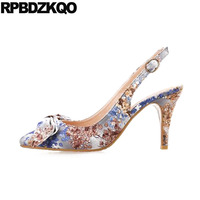 Purple Size 33 Plus Prom Shoes 2018 Slingback Stiletto Flower Printed High Heels Pointed Toe Bow Ladies Sandals Pumps Floral
