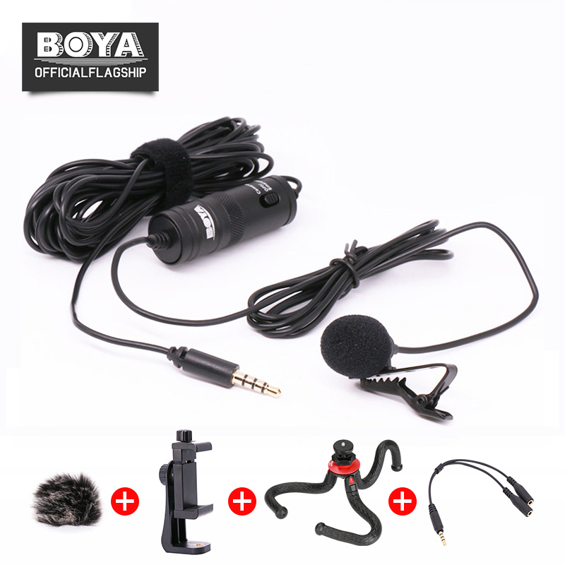 BOYA BY-M1 Lavalier Microphone Omnidirectional Condenser Mic for iPhone Smartphone Canon Nikon DSLR Camera Interview Broadcast