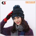 Women's Faux Fur Pom Pom Fleece Lined Knitted Slouchy Beanie Hat