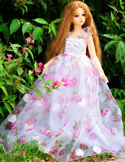 Exquisite Handmade Doll Clothes Pink Flower Lace Dress for 55-60CM SD BJD 1/3 Doll Girls Clothing Toys Doll Accessories