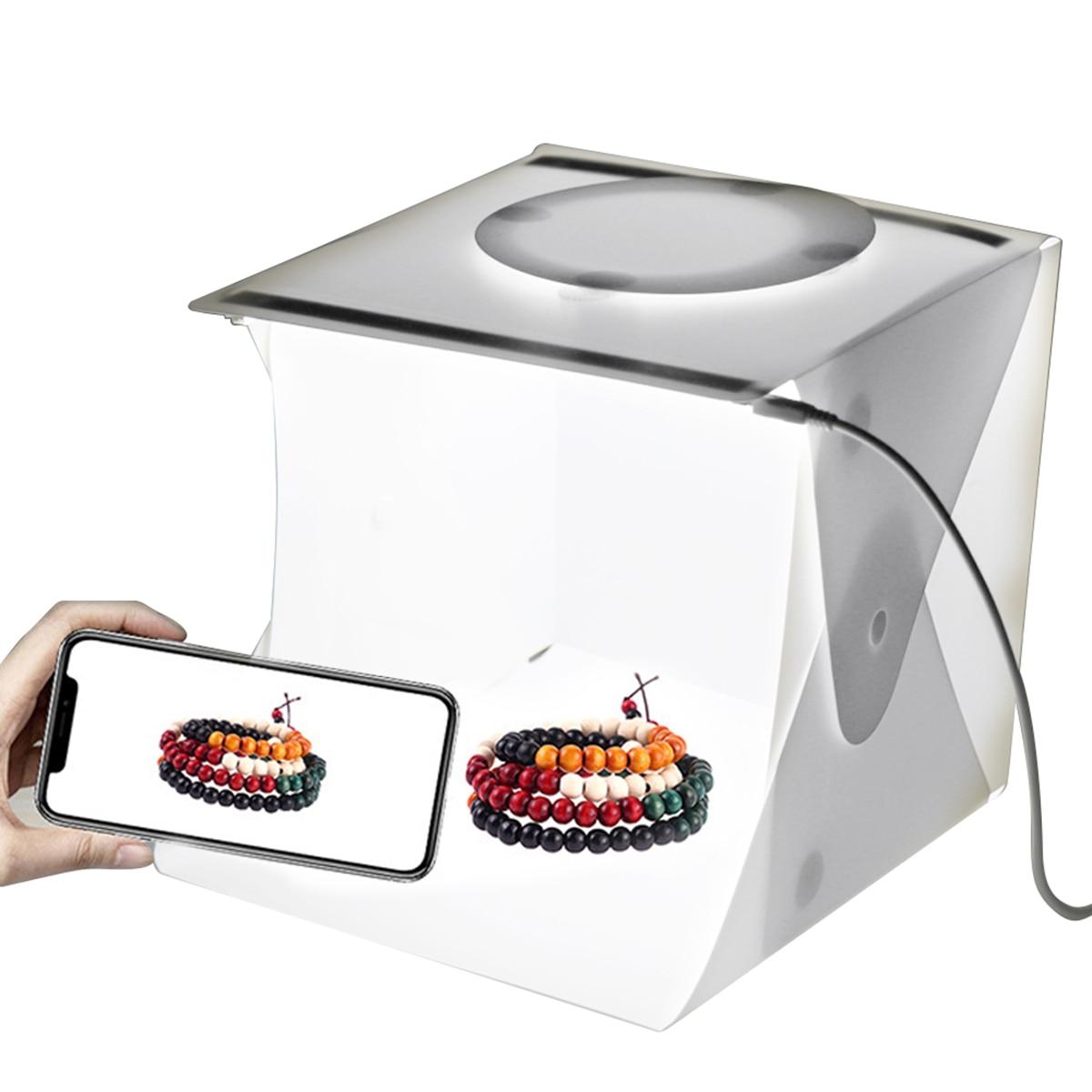 SOONHUA Mini Folding Lightbox Photography Photo Studio Softbox Background LED Light Soft Box With 6 Backdrops Kit Light Box