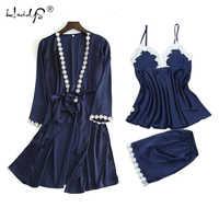 Casual Pyjamas for Women 2018 Spring Autumn Pajama Suit Lace Sleepwear 3pcs Set Sexy Silk Robe Set Loose Pijamas Mujer Nightwear
