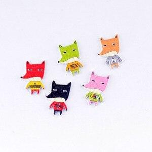 Free Shipping Retail 10Pcs Random Mixed 2 Holes Cartoon Fox Animal Shape Wood Sewing Buttons Scrapbooking 20x30mm(China)