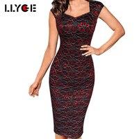 LLYGE Phụ Nữ Mùa Hè Ren Thanh Lịch Thêu Vintage Dress Quảng Trường Cổ Slim Váy Không Tay Casual Bodycon Đảng Vỏ Bọc Dresses