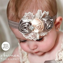 children's hair band elastic headband baby roses jewelry Toddler Kids Girls Hair Bow Lace Hearband