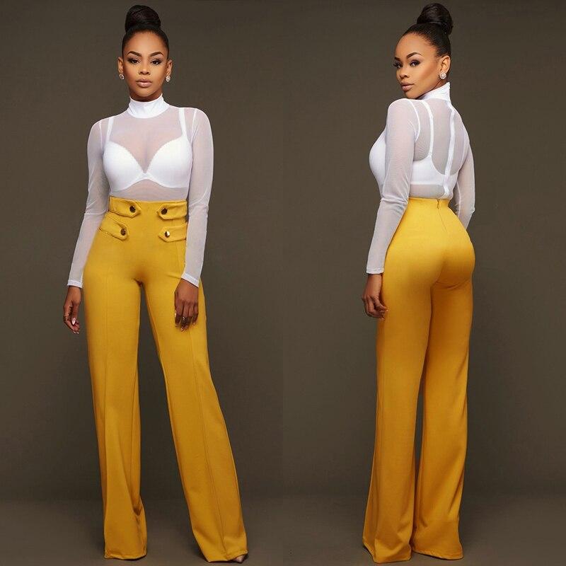 Iselinstorm Comprar Formal Ancho De La Pierna Pantalones Casuales Senora Oficina Trabajo Cintura Alta Elegantes Modernos Para El Mujer Palazzo Amarillo Negocios Online Baratos