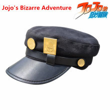 New Jojo's Bizarre Adventure Kujo Jotaro Hat Cosplay Props Cloth Women Man Dome Badge Berets Cap Cosplay Accessories(China)