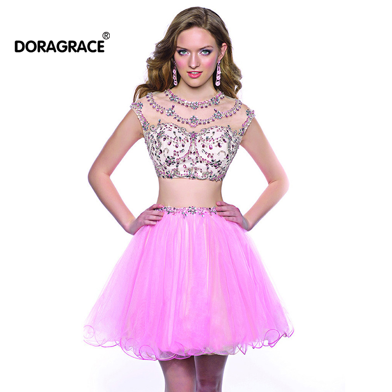 New Fashion Two-Piece Cap Sleeve Crystal Beaded Short Cocktail Dresses Tulle Party Dress vestido de festa curto DGC010