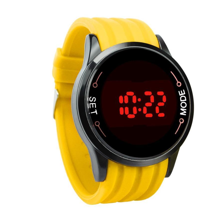 55f65d19a08 Relógios Digitais homens relógio touch screen led Janela Dial Tipo de  Material   Vidro