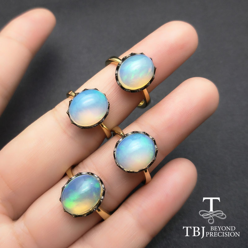 цена на TBJ,Natura Ethiopian opal ov10*12mm good fire natural opal Ring,color change opal ring ,special Ring for Lady with gift box