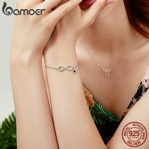 Image 3 - BAMOER Trendy 925 ayar gümüş parlak CZ Infinity bilezikler kadınlar için moda bilezik takı yapımı hediye SCB087