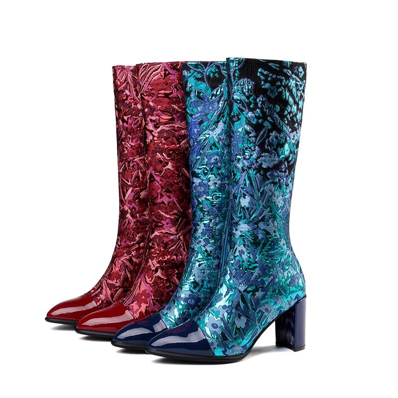 Verni Wetkiss Boot Nouveau Haute Bottes Pointu Noir Cuir 2018 En Chaussures Femelle De Bleu Impression Automne Zip Genou Soie Bout rouge Femmes 5RL3qj4ASc