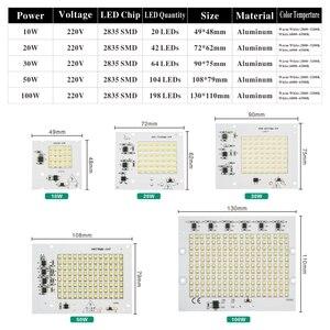 الذكية IC 2835SMD رقائق الصمام مصباح 10 W 20 W 30 W 50 W 100 W AC 220 V- 240 V DIY ل ضوء غامر خارجي حديقة الباردة الأبيض أبيض دافئ