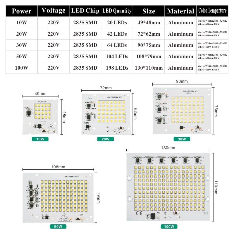 Smart IC 2835SMD LED Chips Lamp 10W 20W 30W 50W 100W AC 220V 240V DIY For Outdoor Floodlight Garden Cold White Warm White in Light Beads from Lights Lighting