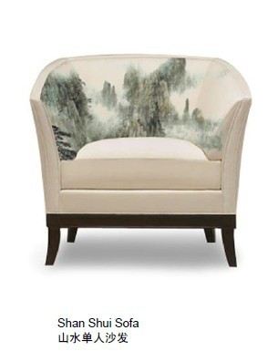 New Chinese Ink Printing Ink Painting Mountains Printed Sofa