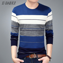E-BAIHUI O-Neck Pullover sweaters Men Brand Clothing 2019 Autumn Winter Cashmere Wool Sweater Casual Striped Pull CA610