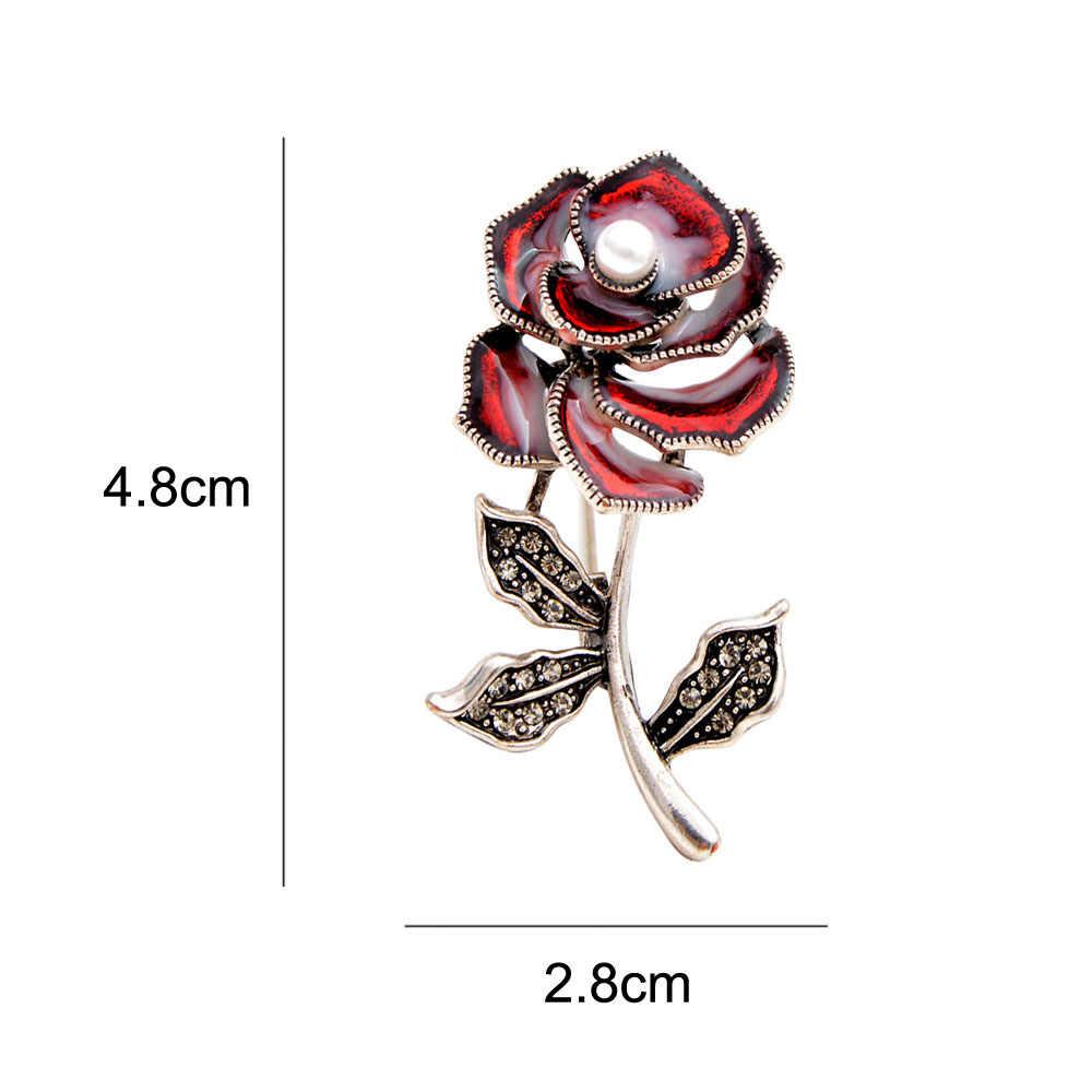 Cindy Xiang Enamel Bunga Bros untuk Wanita Vintage Berlian Imitasi Tanaman Pin 3 Warna Memilih Fashion Perhiasan Gaya Musim Panas Baru Hadiah