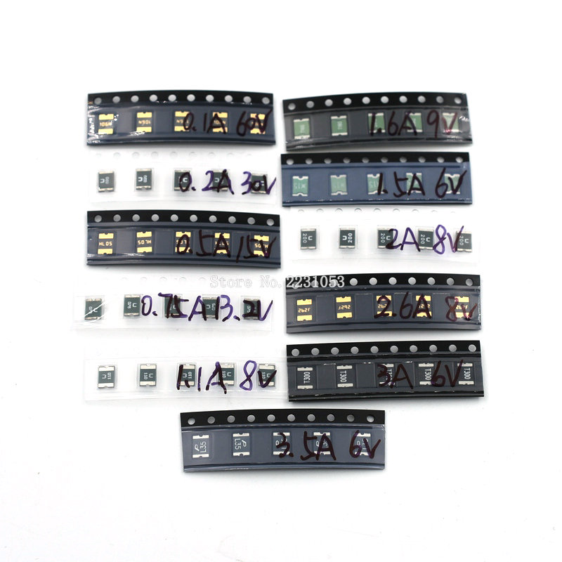 110PCS <font><b>1812</b></font> Resettable <font><b>Fuses</b></font> Kit 11values*5pcs=55pcs <font><b>1812</b></font> <font><b>SMD</b></font> Self-recovery <font><b>Fuse</b></font> Assorted Packs PPTC 0.1A - 3.5A 100ma-3500ma image