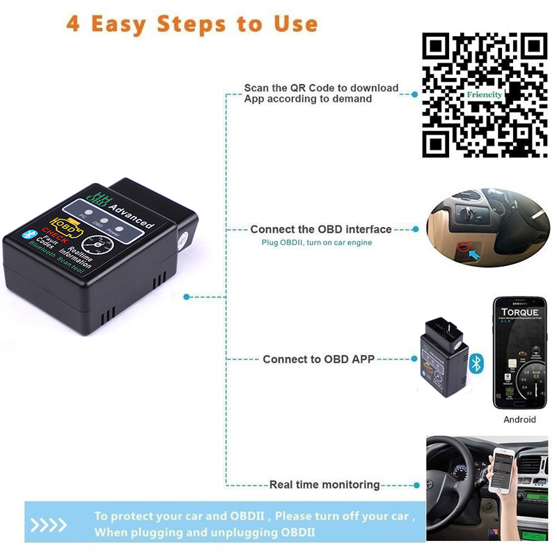 Image 4 - HH OBD ELM327 Bluetooth OBD2 OBDII CAN BUS Check Engine Car Auto Diagnostic Scanner Tool Interface Adapter For Android PC-in Code Readers & Scan Tools from Automobiles & Motorcycles