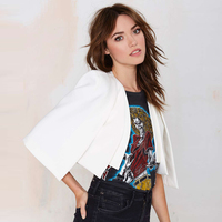 XS XXL 6 Size Women Fashion Jacket Autumn 2016 White Black Short Cloak Cape Blazer Female