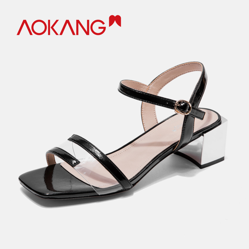 AOKANG 2019 new arrival sandals women summer high heels high quality shoes woman casual square heels