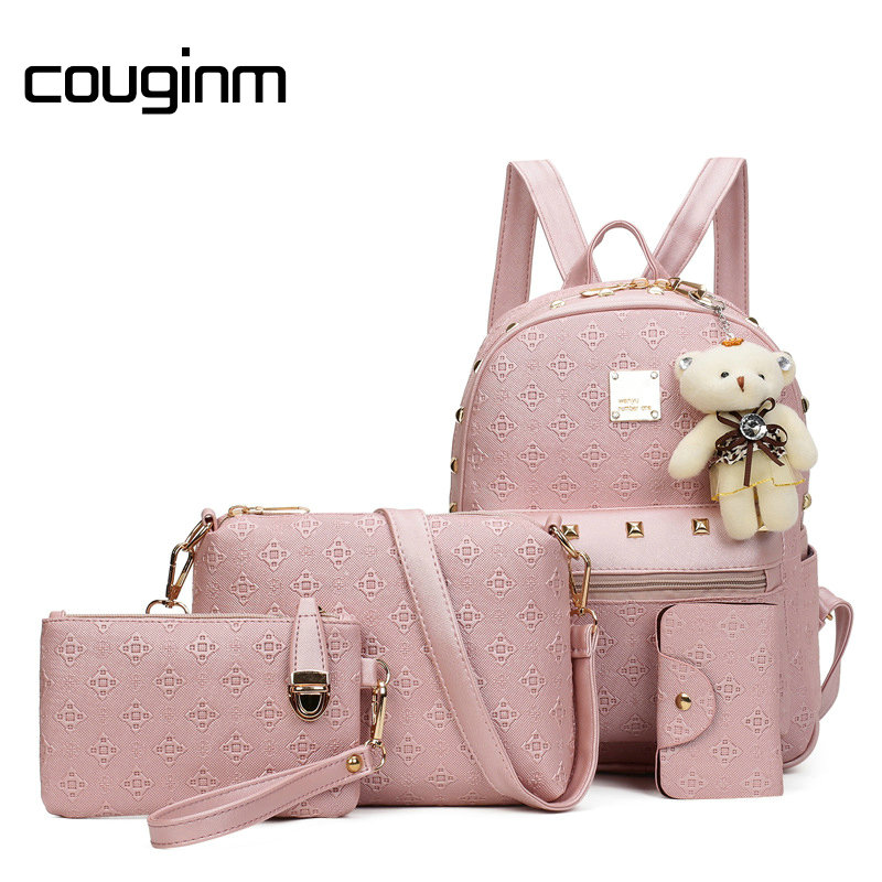 COUGINM Fashion Composite Bag Pu Leather Backpack Women Cute Bear Set Shoulder Bags School Backpacks For Teenage Girls Cardbags 2016 fashion women waterproof pu leather rivet backpack women s backpacks for teenage girls ladies bags with zippers black bags