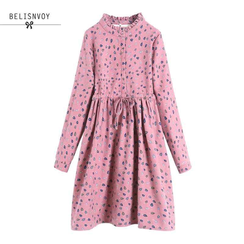 Jesień zima kobiety z długim rękawem zagęścić sztruks sukienka Mori dziewczyna liście wydrukowano Midi Mujer Kawaii eleganckie sukienki w stylu Vintage