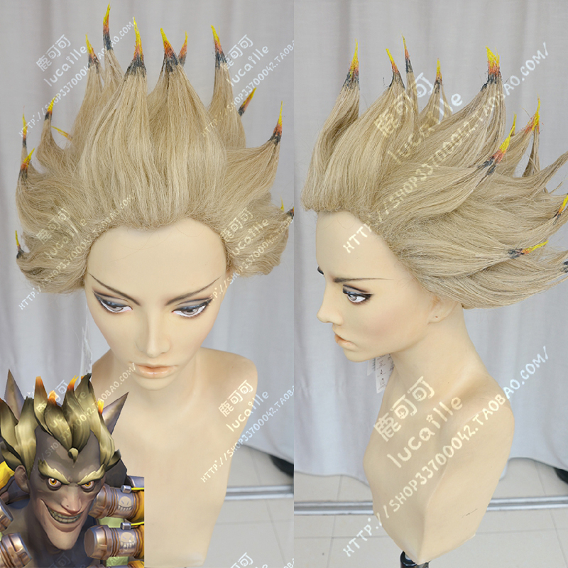 Overwatch OW Junkrat Light Blonde Short Fluffy Layered Synthetic Hair Cosplay Wig ( Need Style With Yourself ) + Wig Cap