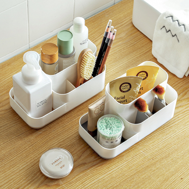 Plastic Makeup Organizer Bathroom Storage Box Cosmetic Organiser Office Desktop Make Up Jewelry Storage Box Sundries Container 2
