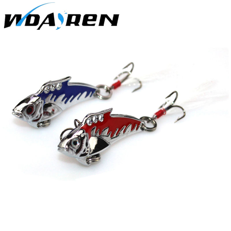1pcs Metal Spoon Fishing Lure Crankbait VIB Wobbler Bass Crank Bait Treble With 2 Hooks Bait Lead Fish 10g 4.5cm 6 Colors FA-334 3d minnow night plastic fishing lure crank bait hooks bass fish crankbait tackle y089