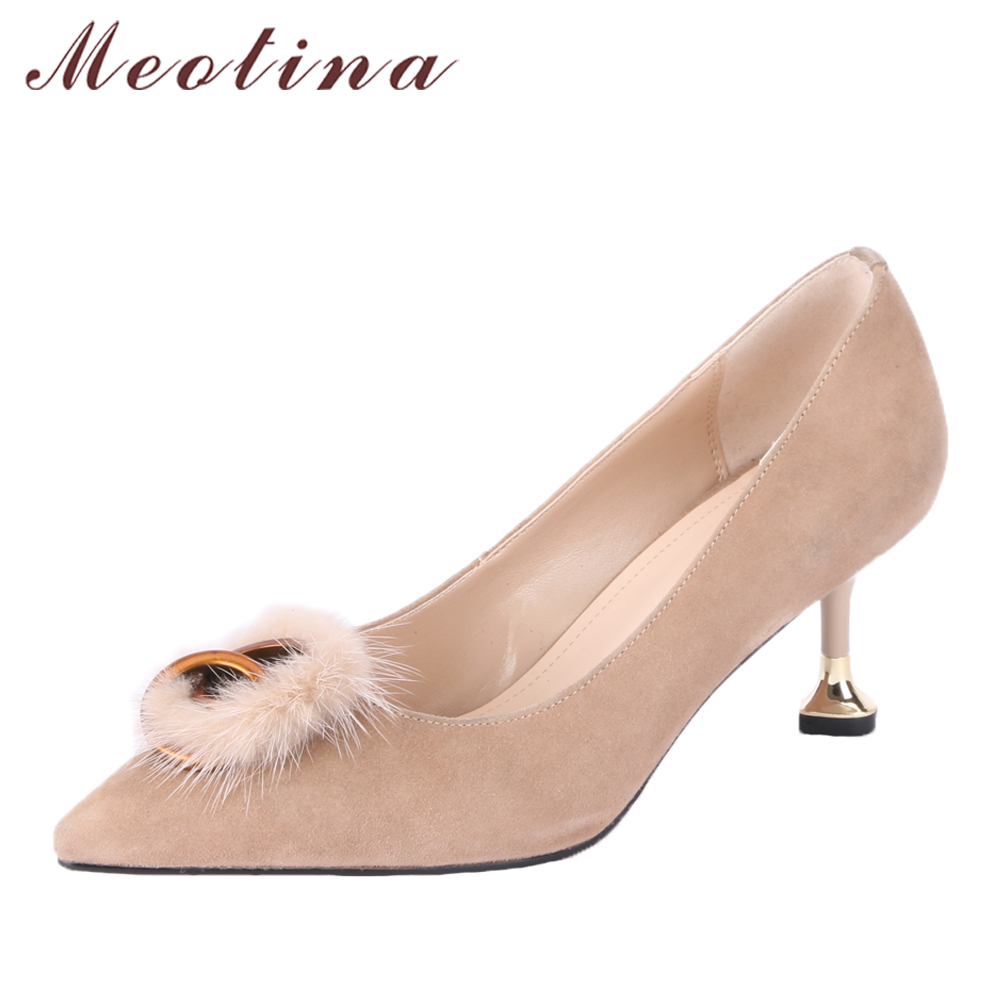 Meotina Genuine Leather Shoes Women Pumps High Heels Fur Pointed Toe Kid Suede Shoes Kitten Heel Ladies Party Shoes Size 34-39 pearl high heels shoes thick green women strange suede abnormal catwalk genuine leather pointed toe strap mary jane lace up
