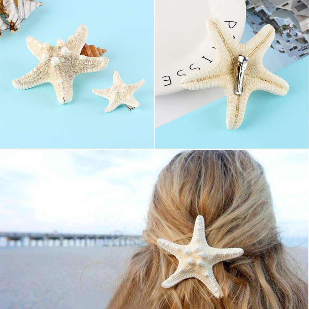 2PCs Elegant Starfish Hair Clips Bridal Handmade DIY Sea Shell Hairpin Mermaid Headwear Accessories Women Summer Beach Jewelry