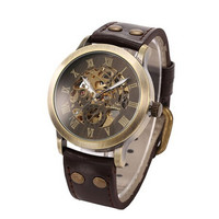 Men S Steampunk Bronze Skeleton Auto Mechanical Leather Wrist Watch Dropshipping