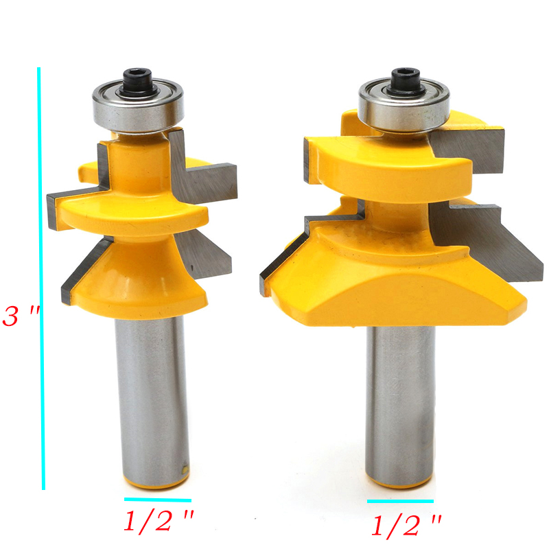 High Quality 2pcs Router Bit Set 1/2 inch X 3 inch Matched Tongue & Groove V- Notch 45 degree Cutter Kit Tool Woodworking 2pcs tongue