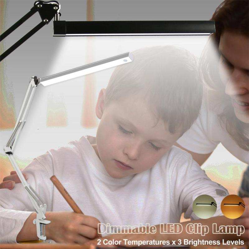 LED Table Lamp Desk Lamp Clip Office Flexible Reading Led Light 3-Level Brightness Abajur Para Quarto Luminaria Mesa Abajur Z30 desk lamp e27 base fabric lampshade table lamp for study abajur para quarto luminaria de mesa ac220 eu plug switch light