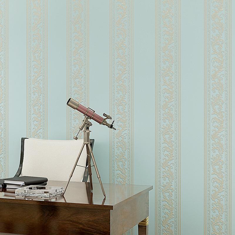beibehang European vertical striped non - woven wallpaper wallpaper bedroom AB floor wallpaper new precision technology
