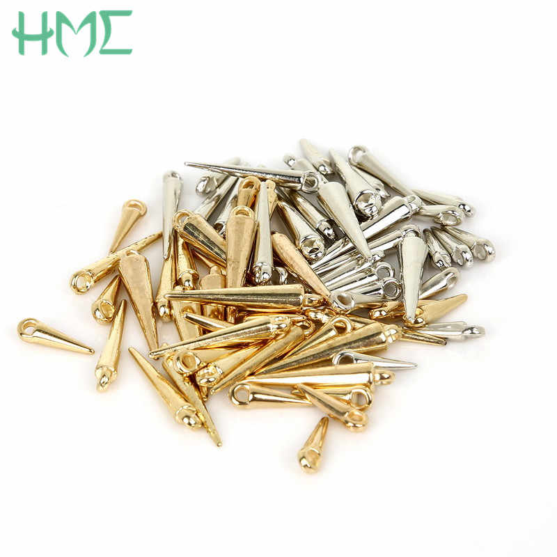 Hot Spike 4x13mm/4x23mm/5x24mm Plated Rhodium/Gold Plastic CCB Charm Pendant for DIY Jewelry Making