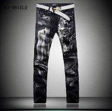 Original Design Fashion 3D Printed Jeans Men High Quality Slim Straight Stretch Pants Men's Denim Movie Characters Pattern Jeans