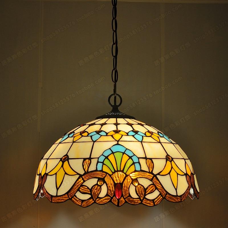 """16 colių britų vakarų restoranų liustra """"Tiffany Glass"""" kavinėse - paprastos senovinės stalo lempos """"European Lighting bar"""""""